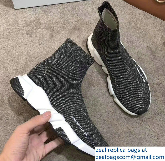 Balenciaga Knit Sock Speed Trainers Sneakers Line Silver Gray 2019