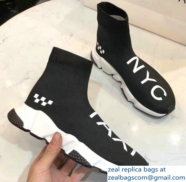 Balenciaga Knit Sock Speed Trainers Sneakers NYC Taxi Black 2019