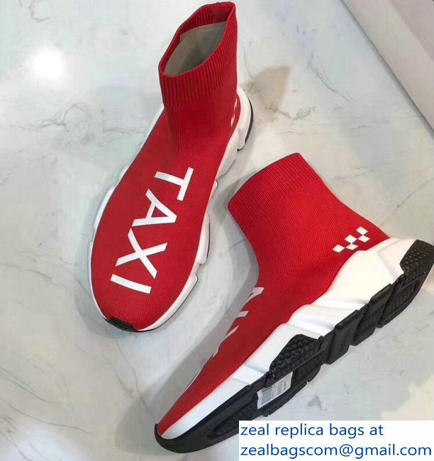 Balenciaga Knit Sock Speed Trainers Sneakers NYC Taxi Red 2019