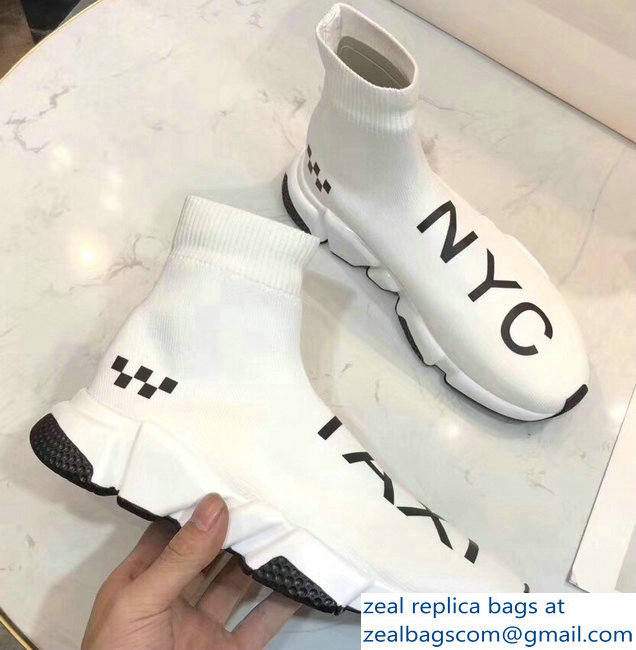 Balenciaga Knit Sock Speed Trainers Sneakers NYC Taxi White 2019