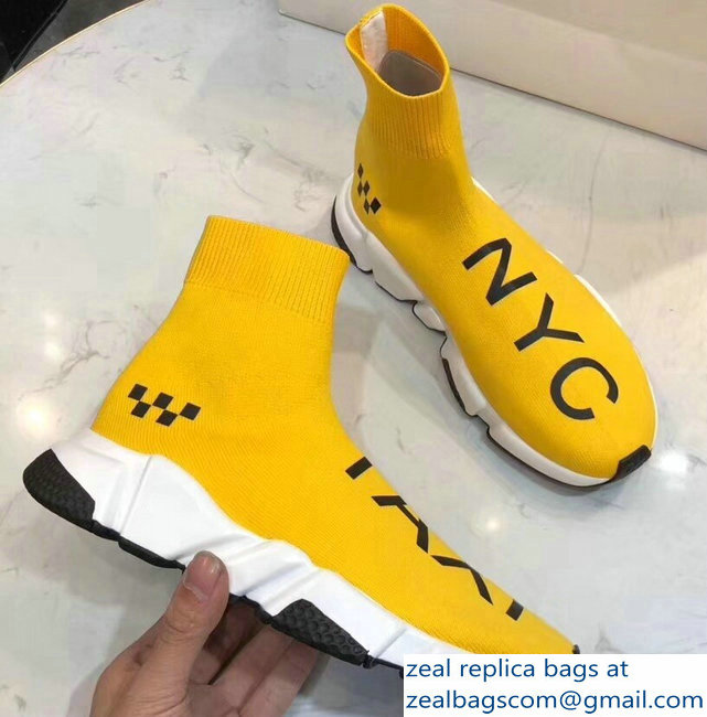 Balenciaga Knit Sock Speed Trainers Sneakers NYC Taxi Yellow 2019