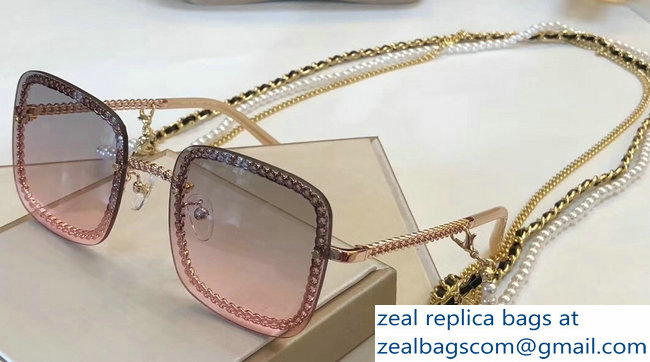 Chanel Square Sunglasses with Removable Triple Hanging Chain 05 2019