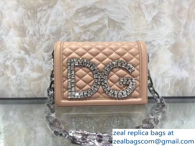 Dolce & Gabbana DG Girls Shoulder Bag In Quilted Nappa Leathe nude pink 2019