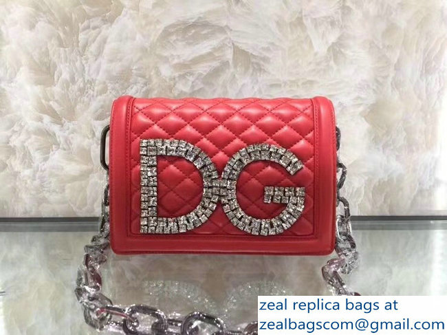 Dolce & Gabbana DG Girls Shoulder Bag In Quilted Nappa Leather red 2019