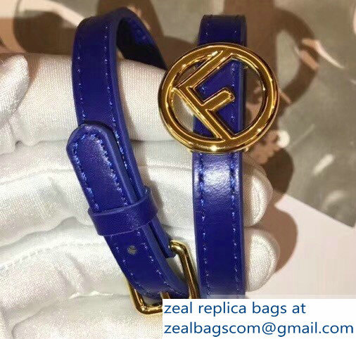 Fendi F Is Fendi Double-wrap Bracelet Blue with Adjustable Buckle
