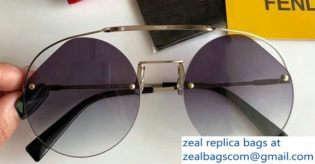 Fendi Round Ribbons & Crystals Sunglasses 06 2019