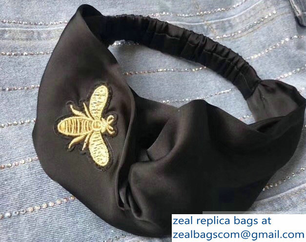 Gucci Bee Silk Headband Black