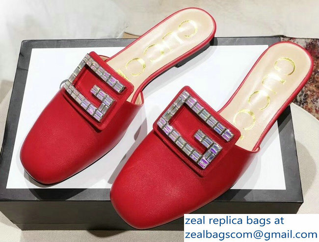 Gucci Crystal G Slipper Red 2019