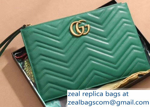 Gucci GG Marmont Leather Pouch Clutch Bag 476440 Green