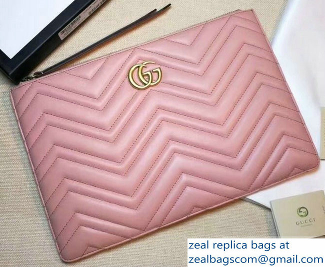 Gucci GG Marmont Leather Pouch Clutch Bag 476440 Pink