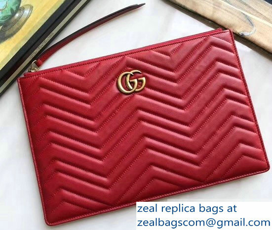 Gucci GG Marmont Leather Pouch Clutch Bag 476440 Red