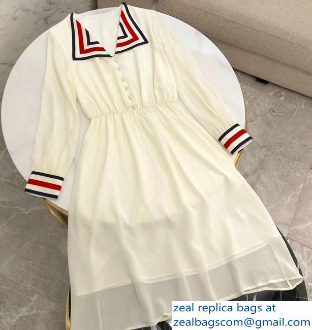 Gucci Striped Creamy Dress 2019