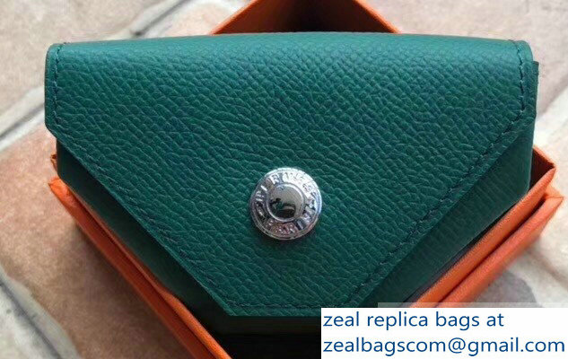 Hermes Epsom Leather Le 24 Van Cattle Chevre Vintage Coin Purse Peacock Green