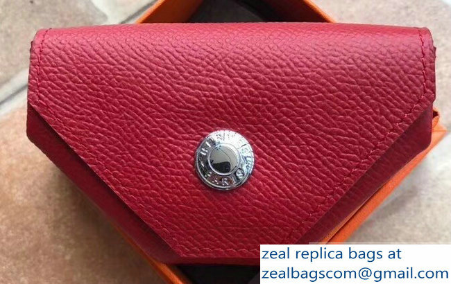 Hermes Epsom Leather Le 24 Van Cattle Chevre Vintage Coin Purse Red