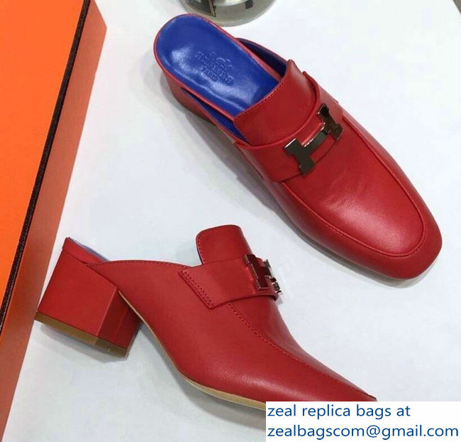 Hermes Heel 4.5cm Paradis Mules With Palladium-Plated H Buckle Red