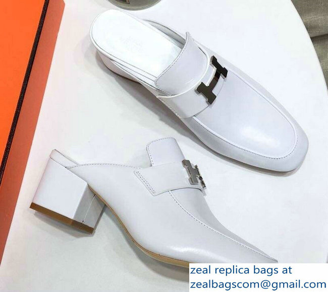 Hermes Heel 4.5cm Paradis Mules With Palladium-Plated H Buckle White