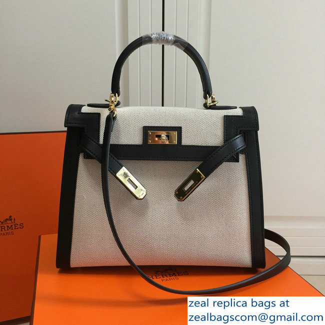 Hermes Kelly 28CM/32CM Bag In swift leather/canvas black With Gold Hardware