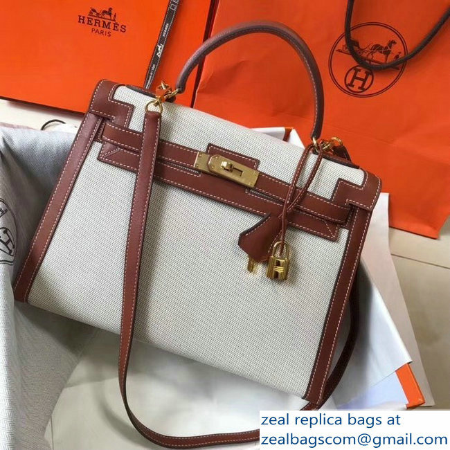 Hermes Kelly 28CM/32CM Bag In swift leather/canvas brown With Gold Hardware