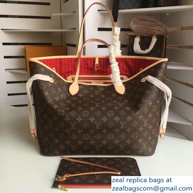 Louis Vuittom Monogram Canvas Neverfull GM Bag RED M41180
