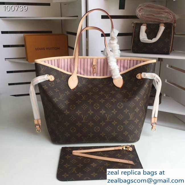 Louis Vuittom Monogram Canvas Neverfull MM Bag pink