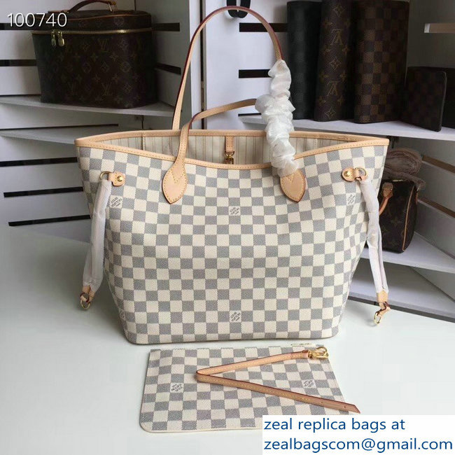 Louis Vuittom damier azur Canvas Neverfull MM Bag beige N41361
