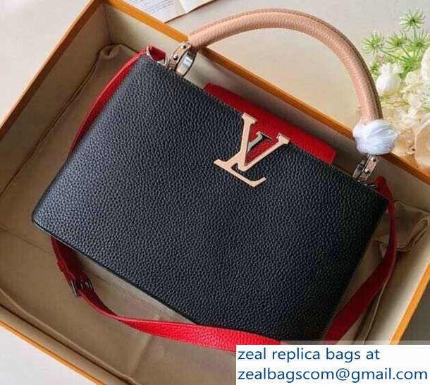 Louis Vuitton Capucines PM Bag Colorblock M51814 Black/Apricot/Red