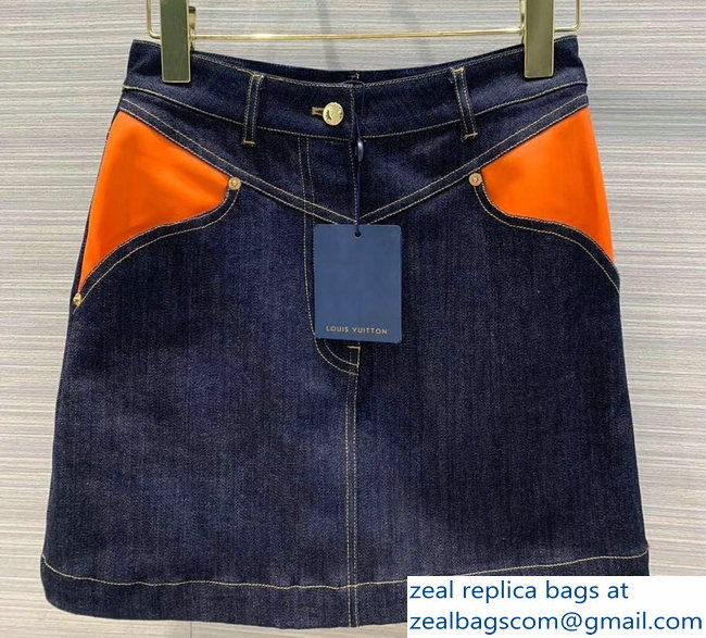 Louis Vuitton Denim Mini Skirt With Leather Patch 1A4YCX 2019