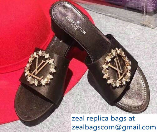 Louis Vuitton Heel 4.5cm Strass-paved LV Circle Satin Madeleine Mules Black 2019