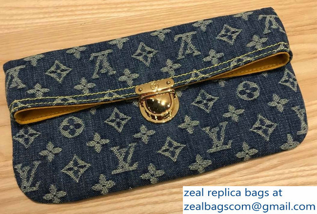 Louis Vuitton Monogram Denim Pochette Plate Clutch Bag