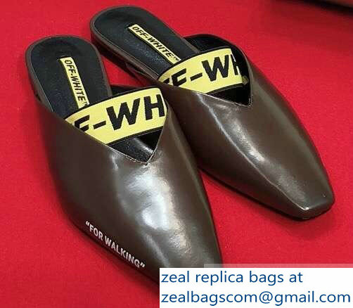 Off-white For Walking Leather Slippers Coffee 2019