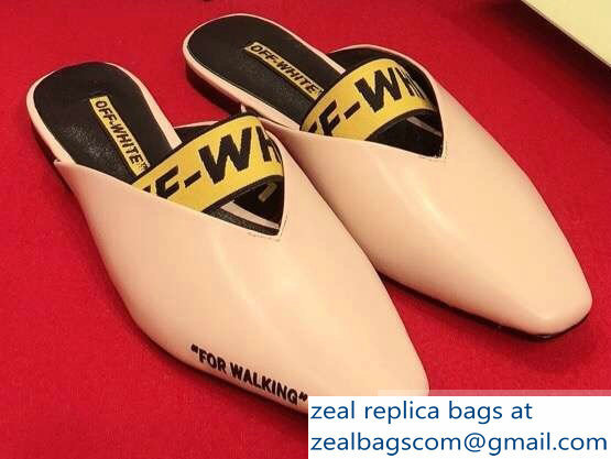 Off-white For Walking Leather Slippers Nude 2019