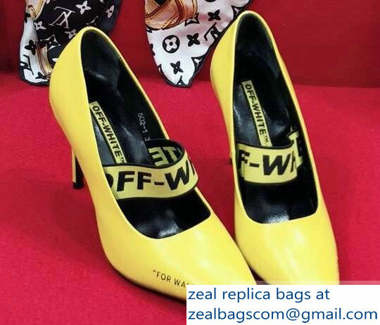 Off-white Heel 10cm For Walking Leather Pumps Yellow 2019