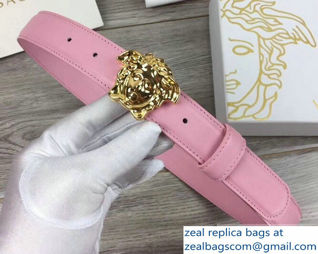 Versace Width 3cm Palazzo Belt With Medusa Buckle Pink/Gold