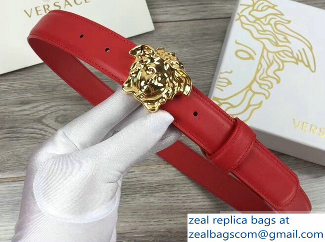 Versace Width 3cm Palazzo Belt With Medusa Buckle Red/Gold