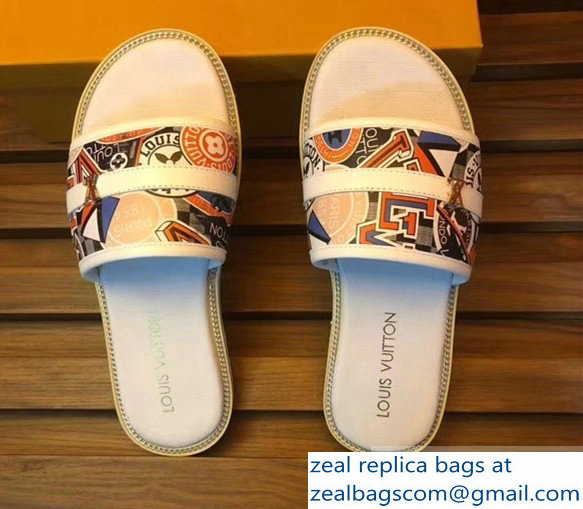 louis vuitton stickers men's slides white