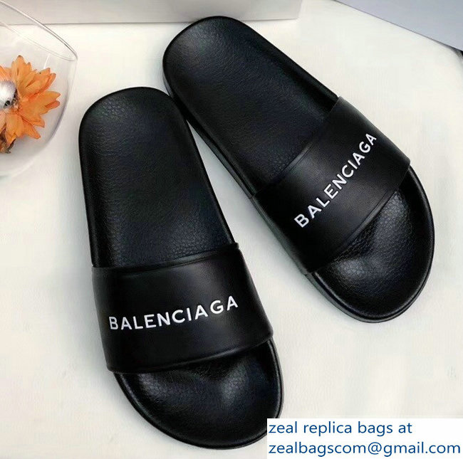 Balenciaga Slides Sandals Logo Black