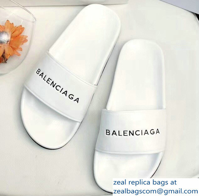 Balenciaga Slides Sandals Logo White