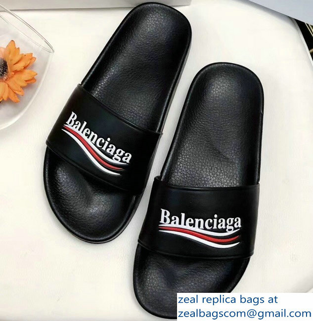 Balenciaga Slides Sandals Political Campain Logo Black