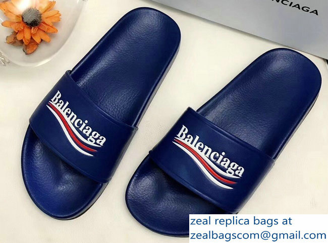Balenciaga Slides Sandals Political Campain Logo Blue