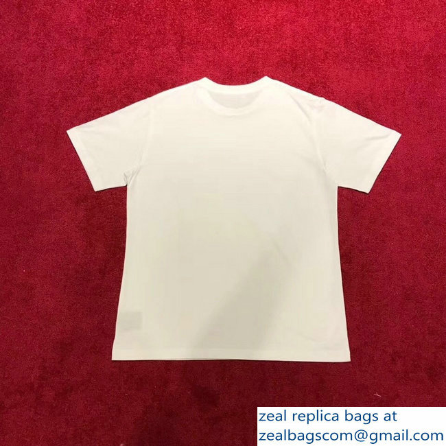 Celine Crew Neck Classic Cotton T-Shirt Small Logo and Address White 2019