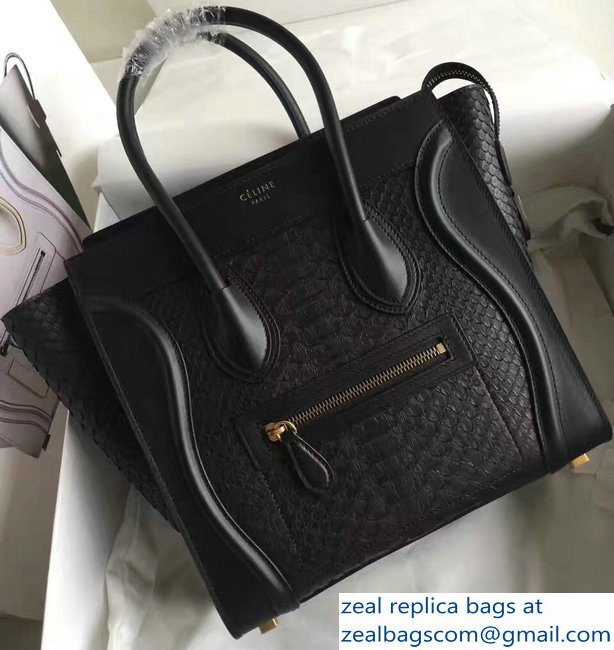 Celine Python Luggage Micro Bag Black