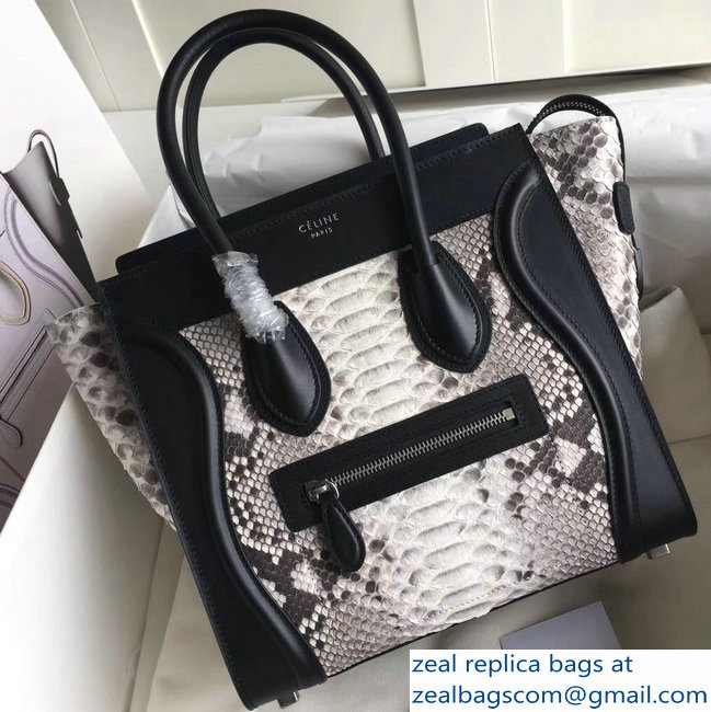 Celine Python Luggage Micro Bag Gray