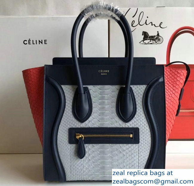 Celine Python Luggage Micro Bag Navy Blue