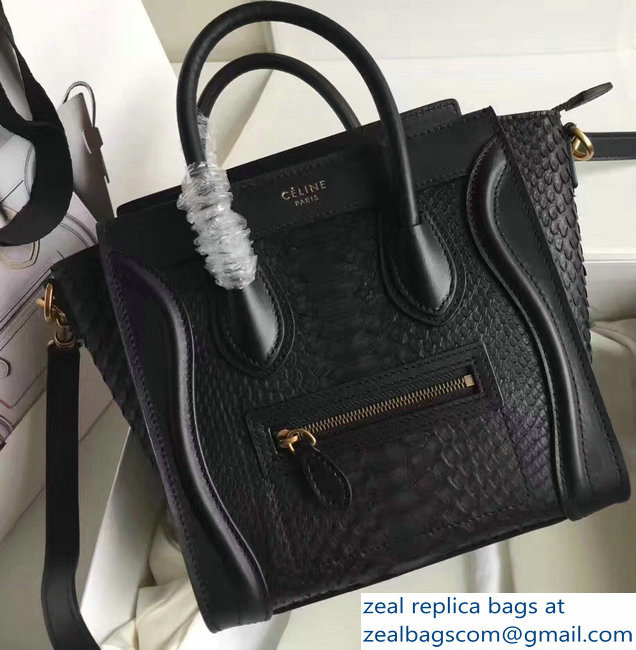 Celine Python Luggage Nano Bag Black
