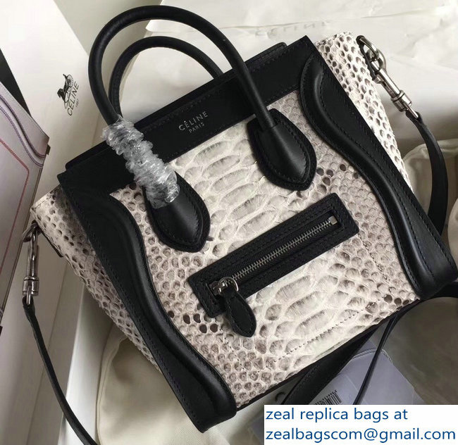 Celine Python Luggage Nano Bag Gray