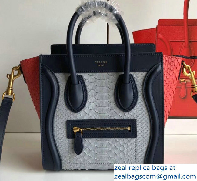 Celine Python Luggage Nano Bag Navy Blue
