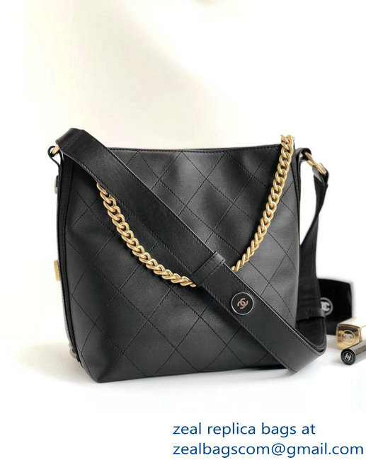 Chanel Button Up Hobo Bag A57573/A57576 Black 2018
