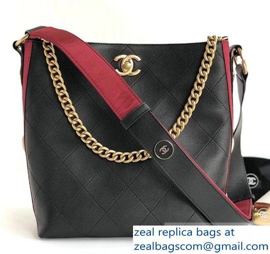 Chanel Button Up Hobo Bag A57573/A57576 Black/Burgundy 2018