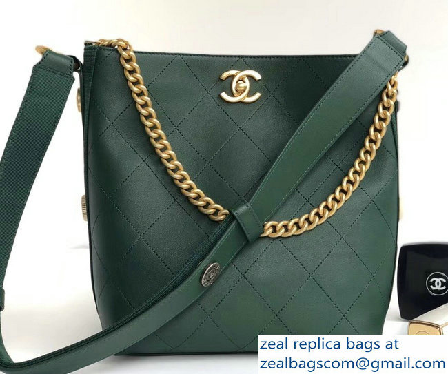Chanel Button Up Hobo Bag A57573/A57576 Green 2018