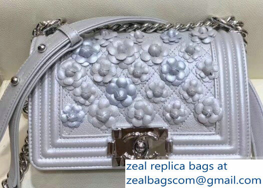 Chanel Camellia Embroidered Boy Small Flap Bag Metallic Silver 2019